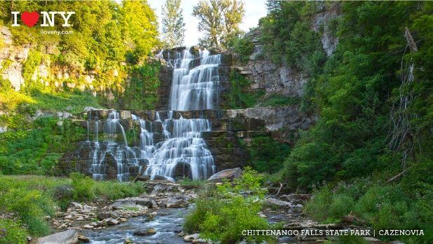 A photo of Chittenango Falls State Park on a sunny day