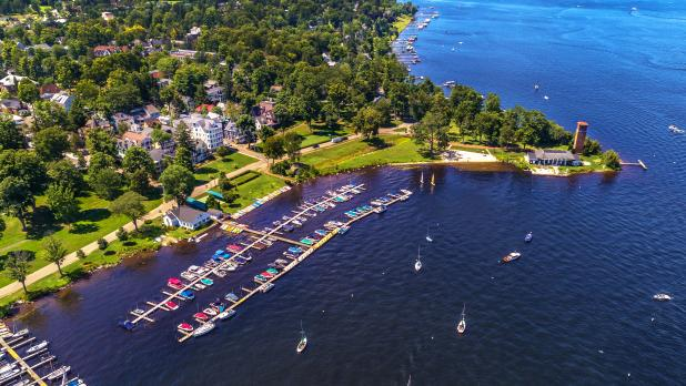Drone view of Chautauqua Institution