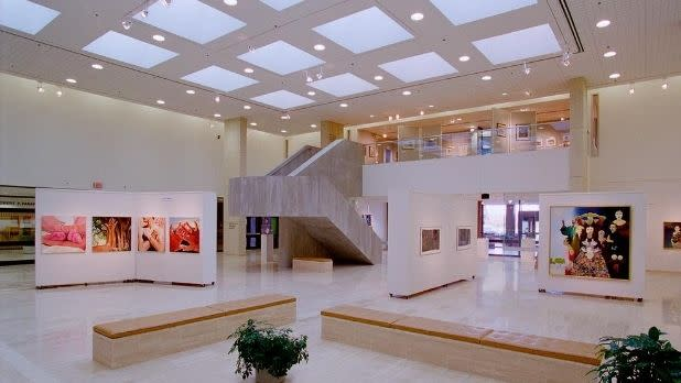 An image of an exhibition in the Dyer Arts Center with artworks by Chuck Baird hung on movable walls.