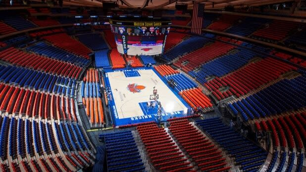 Madison Square Garden in Knicks colors