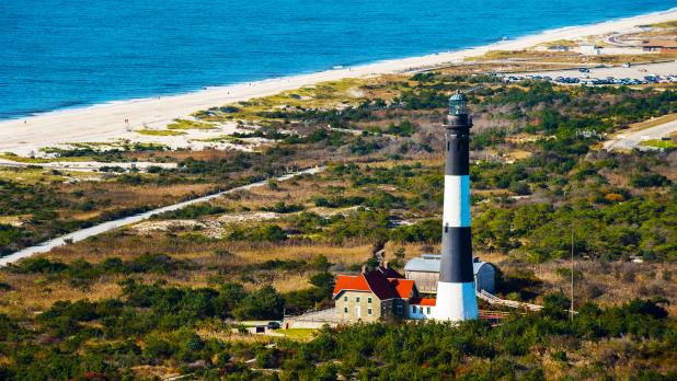 Sky view of Fire Island Lighthouse