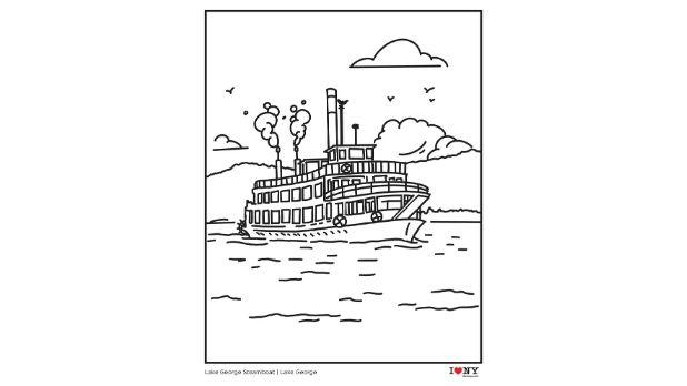 Lake George Steamboat coloring page