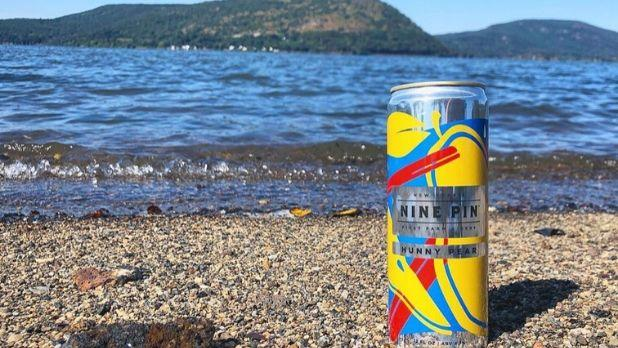 A photo of a can of Nine Pin Cider in the rocks on a beach in Capital-Saratoga