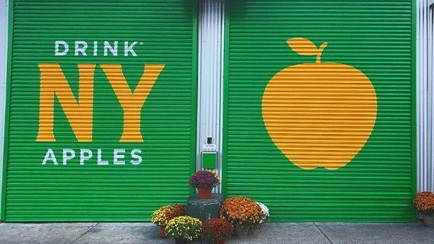 "A photo of a garage door painted green that states ""Drink NY Apples"" with a symbol of an apple next to it"