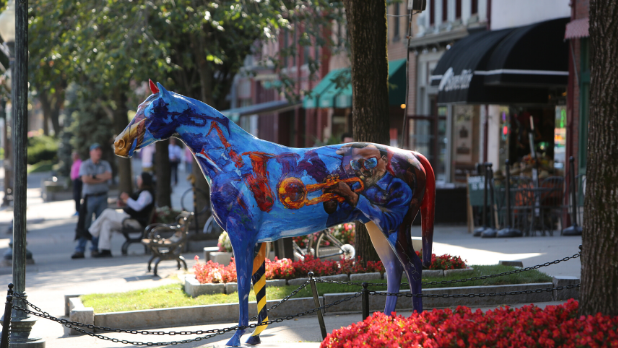 A horse sculpture on Broadway in Saratoga Springs