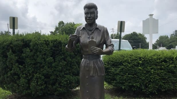 "A sculpture of Lucille Ball that has come to be known as ""Scary Lucy"""