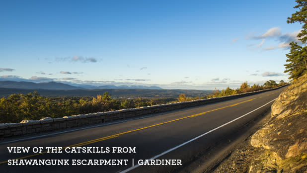 A photo from along the Shawangunk Mountains Scenic Byway with a view of the Catskills