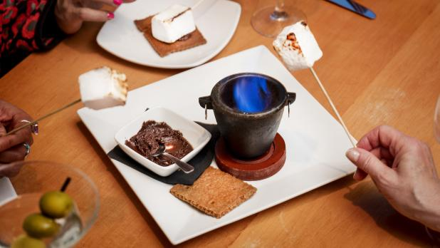 Making smores at the The Cellar in corning new york