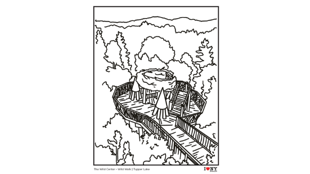 A coloring page of the Wild Walk bird's nest