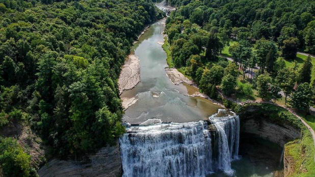 An aerial view of Letchworth State Park waterfall