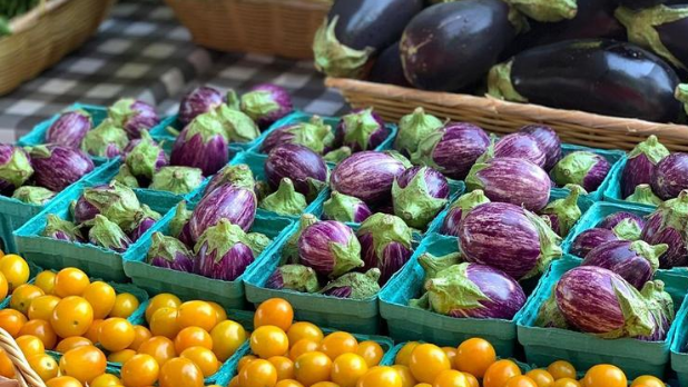 Yellow tomatoes and eggplants in small baskets at Rhinebeck Farmer's Market