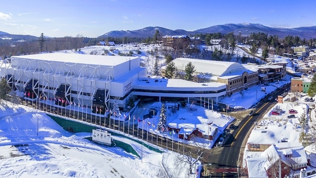 A photo of the exterior of the Lake Placid Olympic Center during the winter