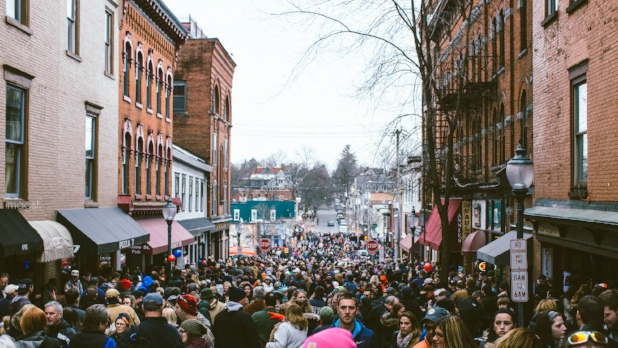 A picture of people in the street in Saratoga for the annual Chowderfest