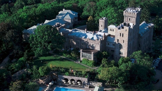An aerial shot of the Castle Hotel and Spa
