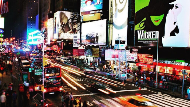 A photo of Broadway and Broadway billboards in NYC
