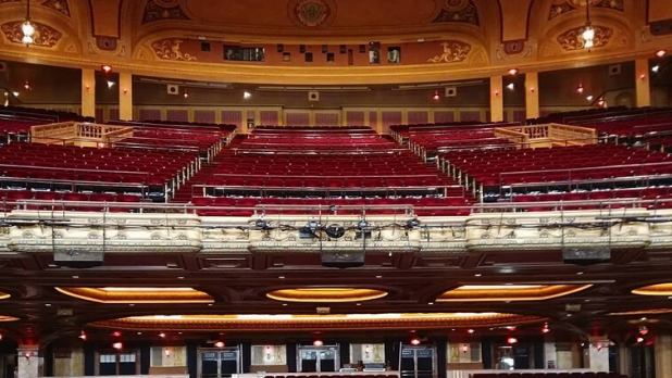 A photo from the orchestra section of Shea's Performing Arts Center looking to the back of the theatre