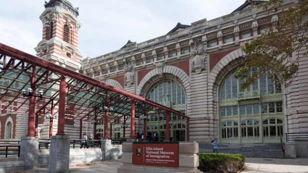 Exterior of Ellis Island National Museum of Immigration in NY