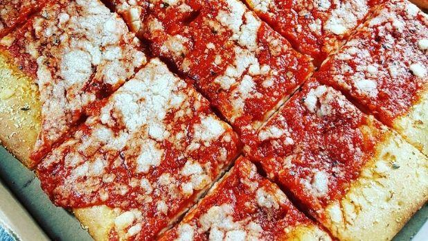 tomato pie from Roma's in Utica