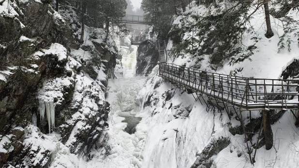 Snow and ice surrounding the High Falls Gorge