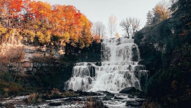 A fall day view of Chittenango Falls State Park waterfall