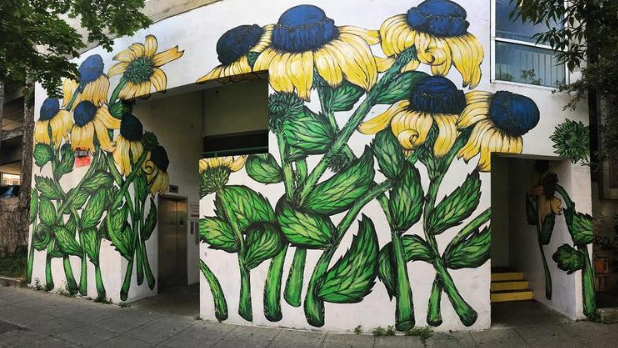 A street art mural of black-eyed Susans in the Ithaca Commons