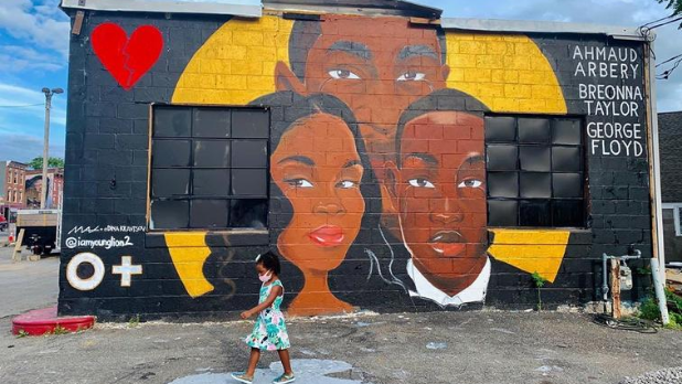 A Black Lives Matter mural showing George Floyd, Ahmaud Arbery and Breonna Taylor in Kingston, NY