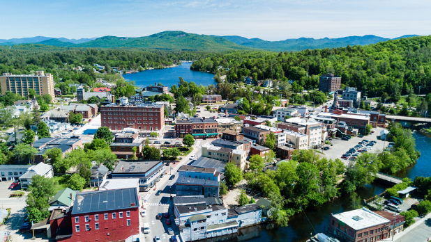 Aerial view of Saranac Lake village