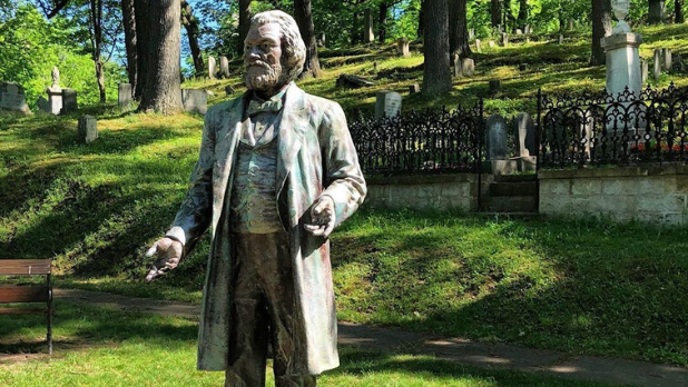 The Frederick Douglass statue at the Mount Hope Cemetery in Rochester