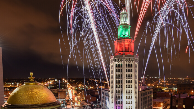Fireworks over downtown Buffalo for New Year's Eve