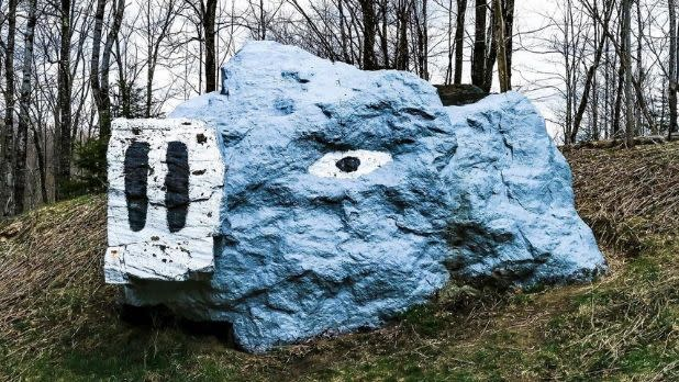 A giant rock painted like a pig in the Adirondacks