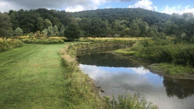 A photo of the pond at Emerald Glen Getaway