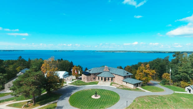 Overhead view of Saint Lawrence Spirits Chateau along the Saint Lawrence River, New York