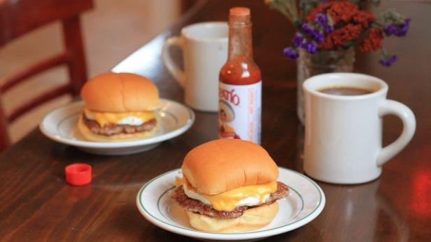 Two bacon egg and cheese sandwiches and coffee from Golden Russet Cafe in Rhinebeck