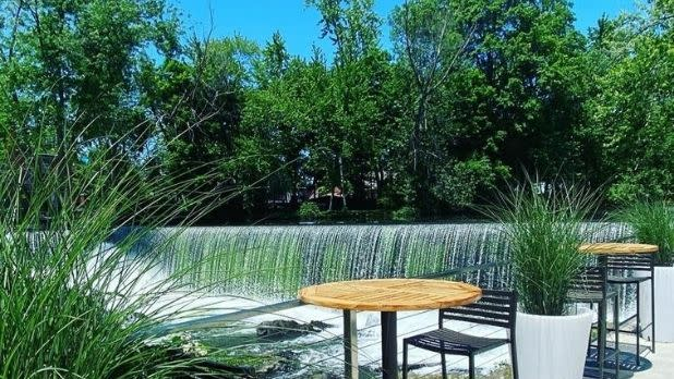 A view of the waterfall from The Patio at Roundhouse Beacon