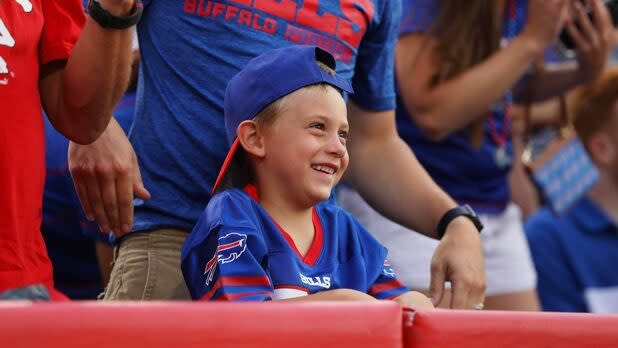 Young fan at a Buffalo Bills game