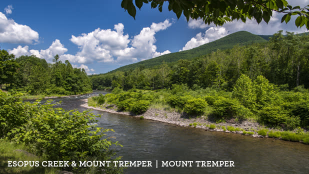A photo of Esopus Creek and Mount Temper along the Catskill Mountains Scenic Byway