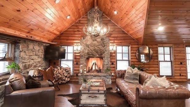 The lodge-like interior at Cedar Lake Estate