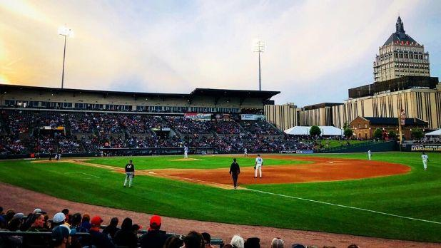 A picture of Frontier Field (a baseball field) where the Rochester Red Wings play