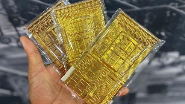 Chocolate in the shape of brownstones from Harlem Chocolate Factory