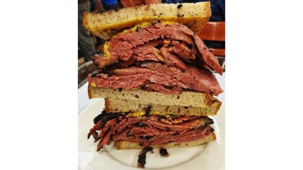 A photo of a pastrami sandwich from Katz's Deli in NYC
