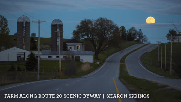A photo of a farm along the Route 20 Scenic Byway in Sharon Springs