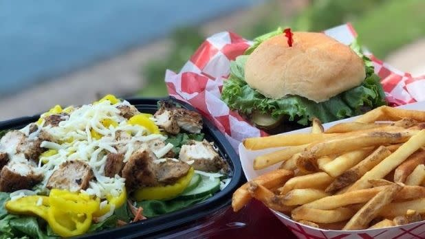 A salad, burger and fries from The Silo