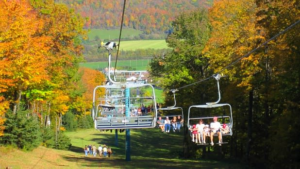 View of fall foliage from the ski lift at Ellicottville Fall Festival