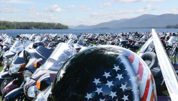 Motorcycles lined up at the Americade Motorcycle Touring Rally
