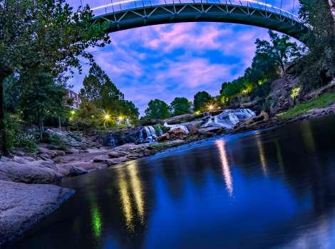 Liberty Bridge At Falls Park On The Reedy