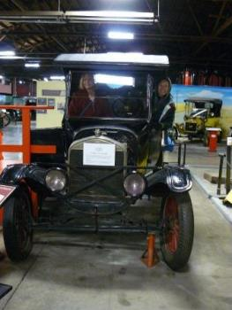 Janet and Carol contemplate taking this automobile on their next Hometown Tourists adventure.
