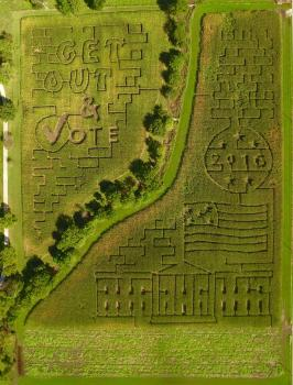 Hogan Farms' 2016 Corn Maze pays tribute to this year's Presidential Election.