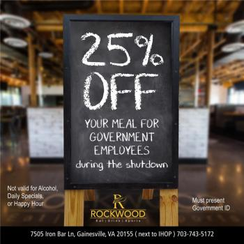 Rockwood Federal Employees Discount during Government Shutdown