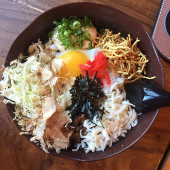 Colorful bowl of ramen with various ingredients from Fukuryu Ramen