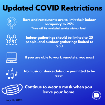 Updated COVID-19 Restrictions July 16, 2020
